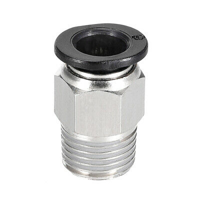 Straight Pneumatic Push to Quick Connect Fittings G1/8 Male x 6mm Silver Tone