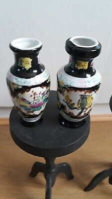 Antique Chinese Porcelain Miniature Vase Pair Early 20thC