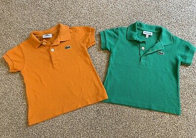 Lacoste Baby Boys Polo Shirts T-Shirts Green And Orange Age 1