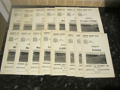 Large Collection of Cardiff Rugby Union Programmes - Dated 1966 to 1968
