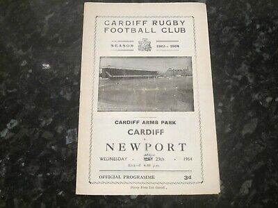 Cardiff v Newport (Re-Arranged Fixture) Rugby Union Programme - Dated 29/4/1964