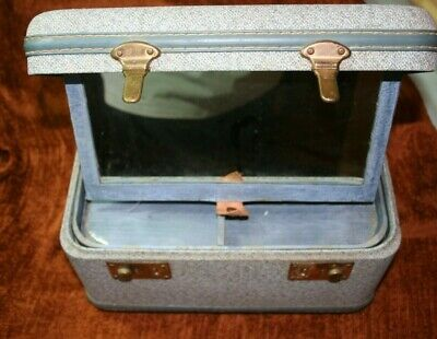 vintage vanity train case blue mirror see photos for size
