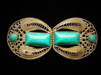 Vintage Art Deco Gold Tone Filigree & Green Cabochon Stone Belt Buckle