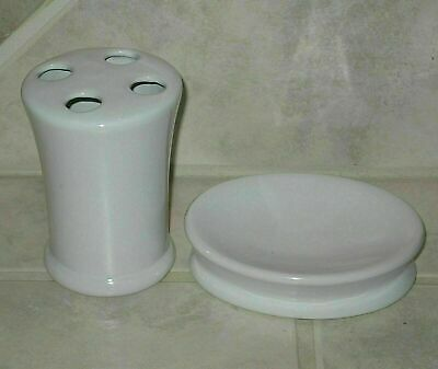 Nice Room Essentials White Ceramic Soap Dish & Toothbrush Holder-Mint Condition