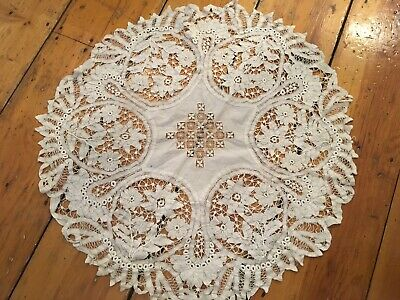 Lovely Antique European Battenberg Tape Lace Tablecloth Spider Needle Work #L15
