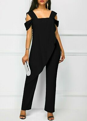 Womens Black Open Back Strap Jumpsuit, Size XL