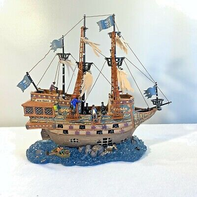 RARE!! LEMAX Pumpkin Hollow/Spooky Town HAUNTED GALLEON Pirate Ship WORKS