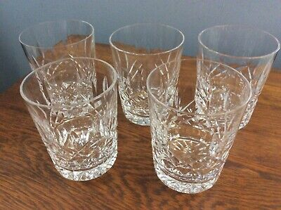 """5 Waterford Lismore Double Old  Fashioned Glasses 4 3/8"""" 12 oz Ireland Excellent"""