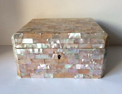 Antique Large French Mother Of Pearl Box