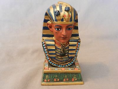 "King Tut Egyptian Pharaoh Painted Bust Figurine 4.75"" Tall"