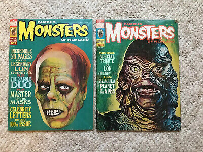 Famous Monsters Of Filmland Vintage Magazines #102  Oct. 1973   & #103 Dec 1973