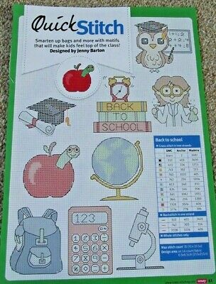 Quick-Stitch Back To School Themed Motifs Cards Gifts Tags Cross Stitch Chart