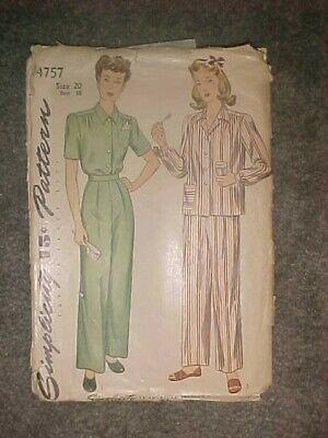 Vintage 1940s Simplicity Sewing Pattern 4757 Dress Sz 20 Bust 38