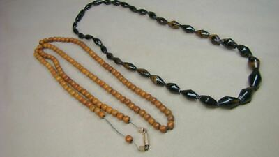 2 Antique Beaded Necklaces Mourning Strung on Chain Lot Black Coral