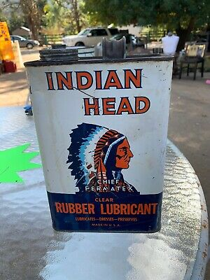 Vintage INDIAN HEAD CHIEF PERMATEX CLEAR RUBBER LUBRICANT OIL CAN 1 GALLON RARE