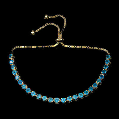 Round Blue Apatite 3mm 14k Yellow Gold Plate 925 Sterling Silver Bracelet 12inch