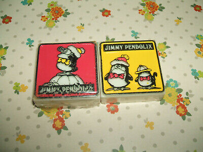 Rare Vintage 1980s Midori Jimmy Pendolix Penguin Embossed erasers rubbers gommes