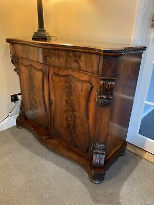 Victorian Antique Flame Mahogany Cupboard/Sideboard/Chiffonier/Cabinet