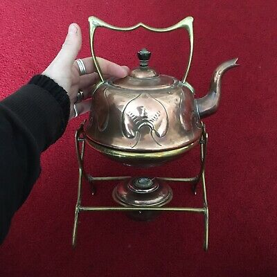 Antique Art Nouveau Copper And Brass Kettle Teapot With Stand And Heater