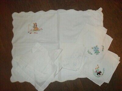 Vintage Embroidered Handkerchiefs X 5 & Embroidered Baby Pillowcase