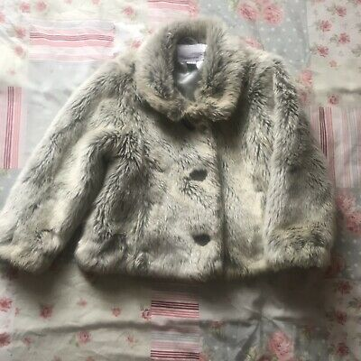 Next Girls Faux Fur Gorgeous Coat Jacket Mink Grey Silver 2-3 years