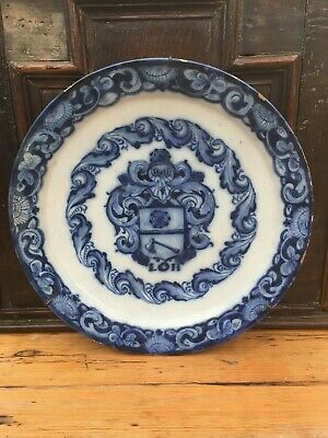 dutch delft amorial dish 1740 faience delftware tin glazed 18th century pottery
