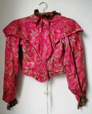 Edwardian Pink Lace Silk Jacket Costume Halloween Antique