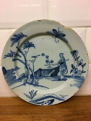 english delft dish 1720 delftware tinglaze earthenware 17th century xvii faience
