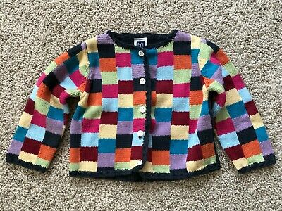 Baby GAP Infant Girls Navy Multi-Colored Button Up Cardigan Sweater Sz 18-24 Mo