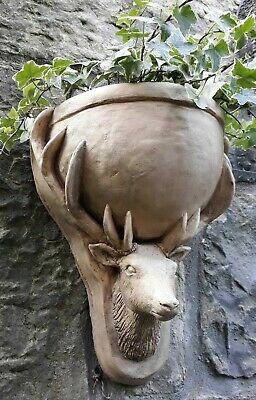 Cast Stone Stag's Head Wall Planter Pot