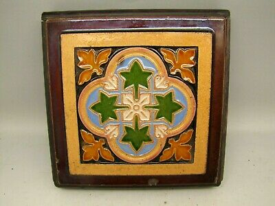 Antique Maw & Co Majolica Tile Pugin Neogothic Teapot Pot Stand
