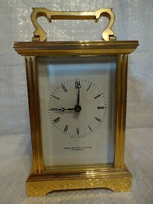 Antique 19th/20th Cent Thos. Russell & Son Liverpool Brass Carriage Clock V RARE
