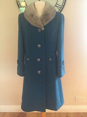Ladies Vintage Winter Wool Coat By Martinex Of London, Teal Green, Size 12/14