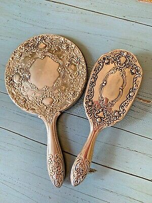 Antique Art Nouveau Silver Plated Handheld Mirror And Brush Vanity Set