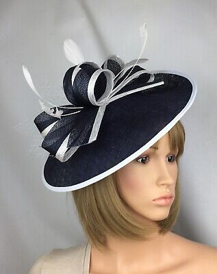 Navy And White fascinator Wedding Hatinator Mother Of The Bride Ascot Races Hat