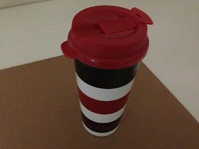 Tim Hortons Coffee Plastic Travel Tumbler Whirley Stripe White Brown Red 2016!!!