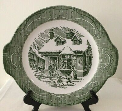 Currier & Ives Royal China_The Old Curiosity Shop-Green Handle Cake Plate