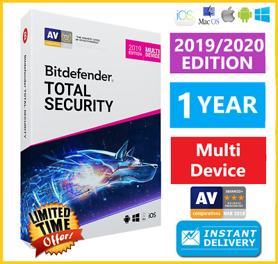 Bitdefender Total Security 2019 / 2020 | 1 Years | Download - Instant Delivery🌟