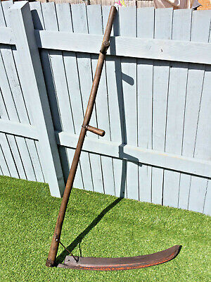 "Old Ash Handle Vintage Hand Held Grass Corn Cutting Scythe 59"" Long"