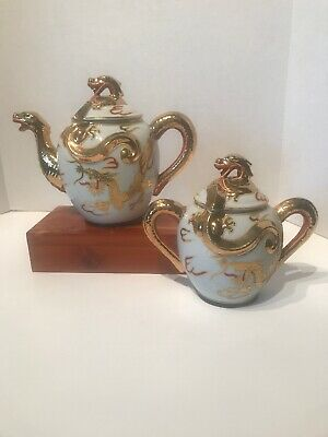 Japanese satsuma Gold Double Dragon Teapot And Sugar