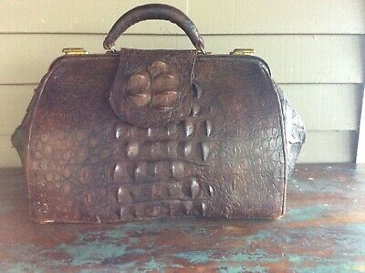 Antique Alligator Doctor's Bag with large hornback scales. Early 1900's.