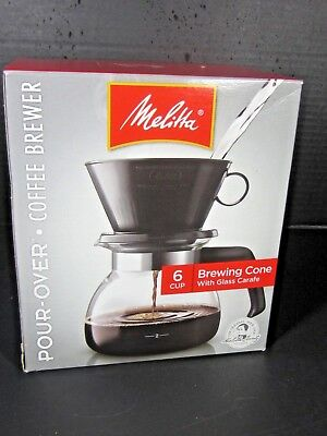 Melitta 6-Cup Brewing Cone Filter Glass Carafe Pour Over Coffee Maker Brewer NIB