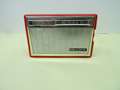 Vintage Red  transistor radio Bulova 7 transistor Hand Held Portable Japan