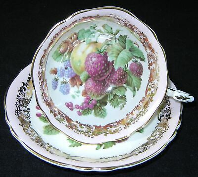 PARAGON Fruit with Pink FOOTED CUP & SAUCER GOLD Scroll and TRIM   h305
