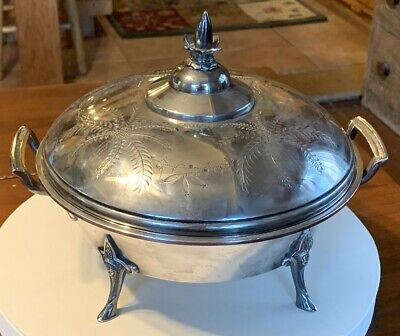 Antique Meriden Silverplate Covered Serving Stand w/ Enamelware Liner