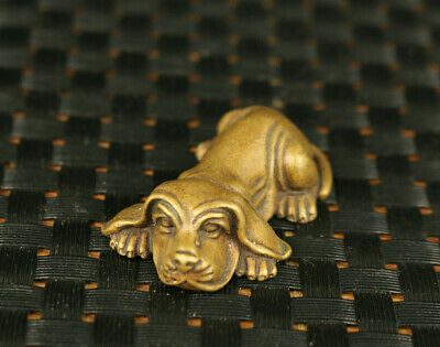 chinese old brass hand carving dog Statue tea tray noble decoration gift