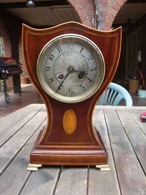 Antique MOUGIN French  Drawing Room Clock Runs Strikes well Sheraton inlaid