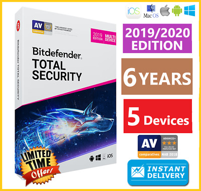 Bitdefender Total Security 2019/2020  5 Device 6 Years Download-Instant Delivery
