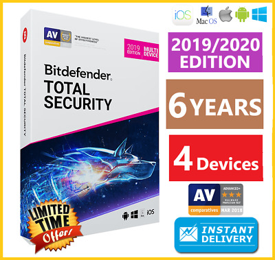 Bitdefender Total Security 2019/2020  4 Device 6 Years Download-Instant Delivery
