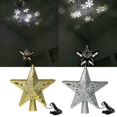 Christmas Tree Topper 3D Glitter Lighted Hollow Star Snowflake Projector Lights